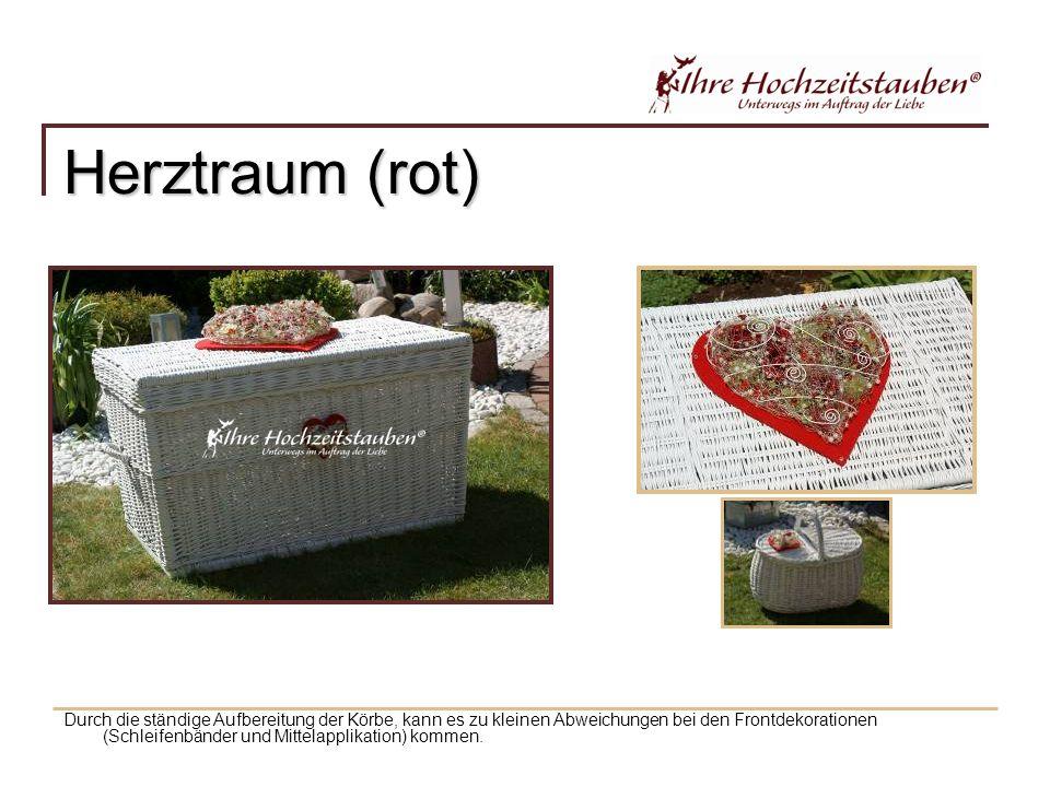 Herztraum (rot) Durch die ständige Aufbereitung der Körbe, kann es zu kleinen Abweichungen bei den Frontdekorationen (Schleifenbänder und Mittelapplikation) kommen.