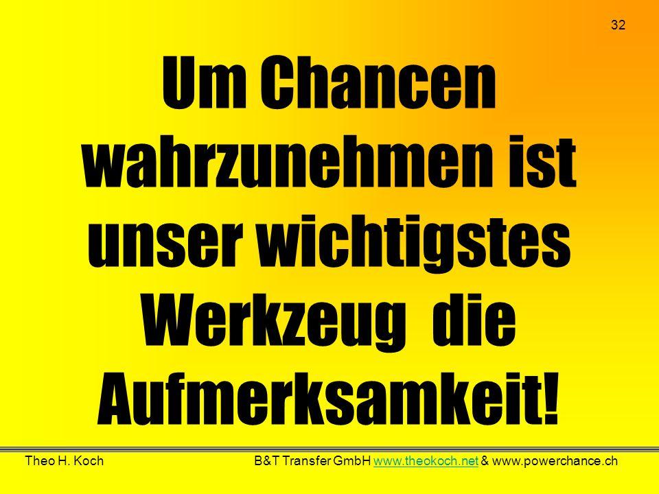 32 Theo H. Koch B&T Transfer GmbH www.theokoch.net & www.powerchance.chwww.theokoch.net Um Chancen wahrzunehmen ist unser wichtigstes Werkzeug die Auf