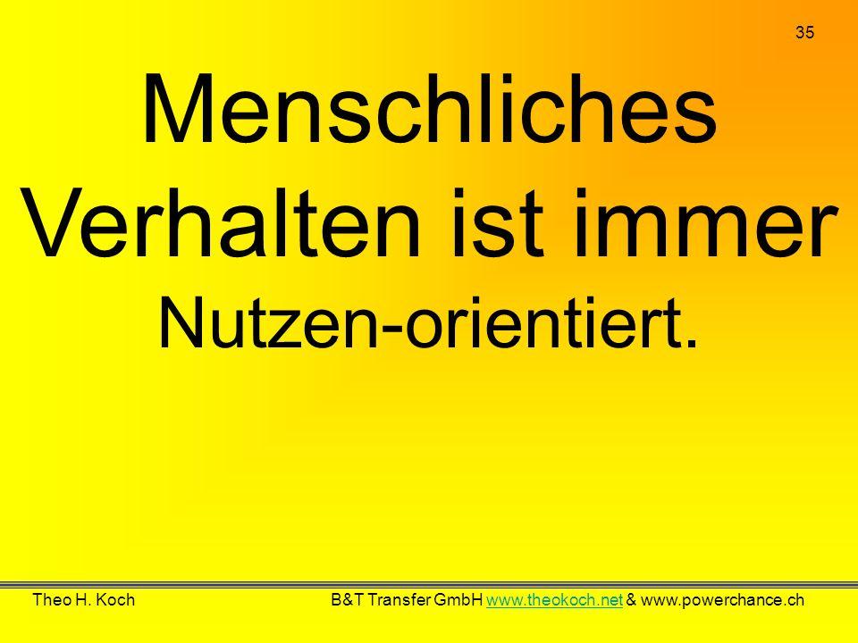 35 Theo H. Koch B&T Transfer GmbH www.theokoch.net & www.powerchance.chwww.theokoch.net Menschliches Verhalten ist immer Nutzen-orientiert.