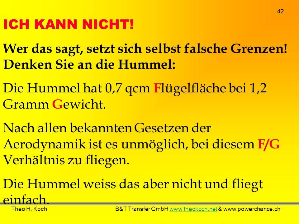 42 Theo H. Koch B&T Transfer GmbH www.theokoch.net & www.powerchance.chwww.theokoch.net ICH KANN NICHT! Wer das sagt, setzt sich selbst falsche Grenze