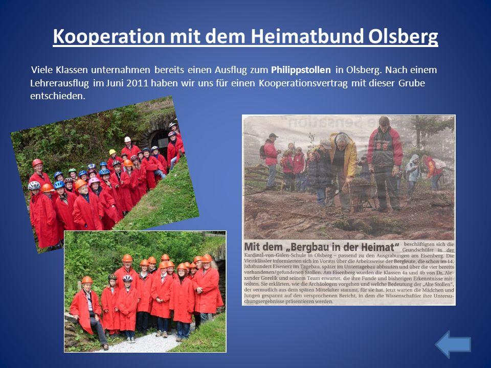 Kooperation mit dem Heimatbund Olsberg Viele Klassen unternahmen bereits einen Ausflug zum Philippstollen in Olsberg. Nach einem Lehrerausflug im Juni