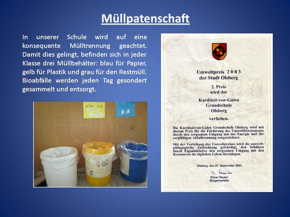 Müllpatenschaft In unserer Schule wird auf eine konsequente Mülltrennung geachtet. Damit dies gelingt, befinden sich in jeder Klasse drei Müllbehälter