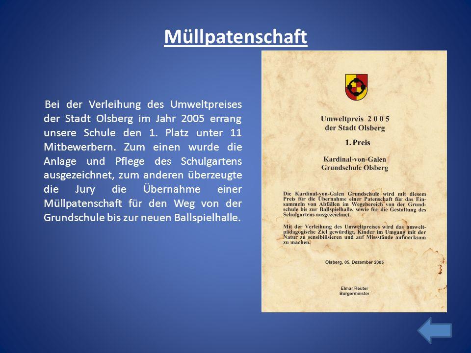 Müllpatenschaft Bei der Verleihung des Umweltpreises der Stadt Olsberg im Jahr 2005 errang unsere Schule den 1. Platz unter 11 Mitbewerbern. Zum einen