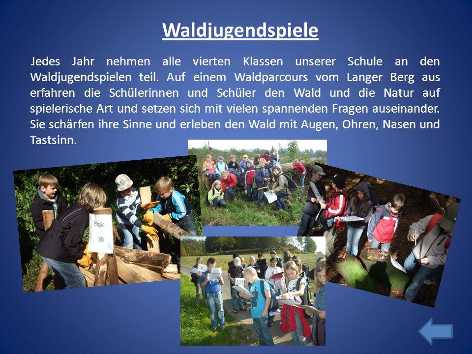 Waldjugendspiele Jedes Jahr nehmen alle vierten Klassen unserer Schule an den Waldjugendspielen teil. Auf einem Waldparcours vom Langer Berg aus erfah