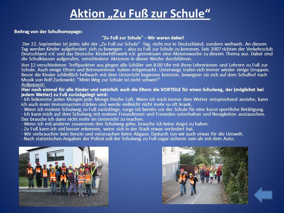 Aktion Zu Fuß zur Schule Beitrag von der Schulhomepage: