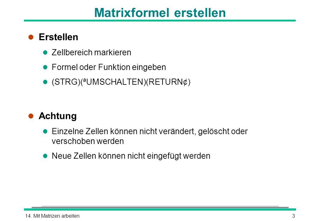 14. Mit Matrizen arbeiten3 Matrixformel erstellen l Erstellen l Zellbereich markieren l Formel oder Funktion eingeben (STRG)(ªUMSCHALTEN)(RETURN¢) l A