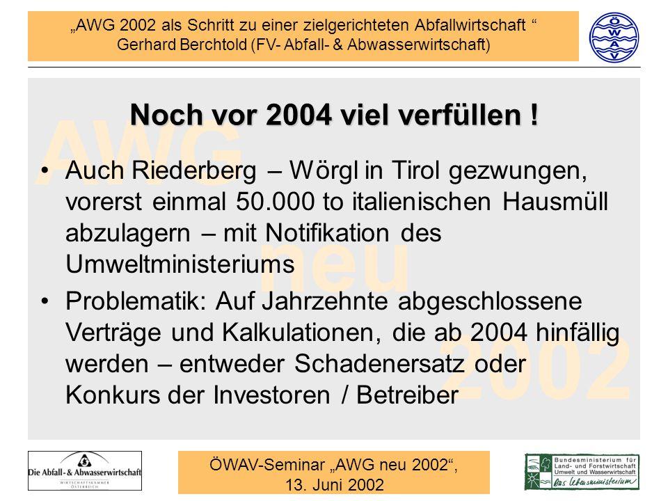 AWG 2002 als Schritt zu einer zielgerichteten Abfallwirtschaft Gerhard Berchtold (FV- Abfall- & Abwasserwirtschaft) AWG neu 2002 ÖWAV-Seminar AWG neu 2002, 13.