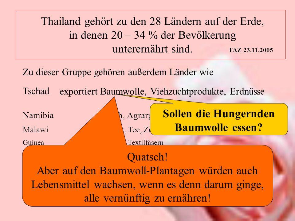 Thailand gehört zu den 28 Ländern auf der Erde, in denen 20 – 34 % der Bevölkerung unterernährt sind. FAZ 23.11.2005 Zu dieser Gruppe gehören außerdem