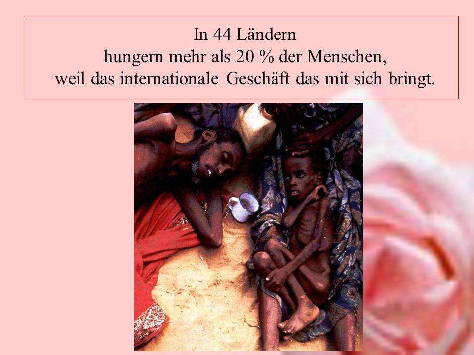 In 44 Ländern hungern mehr als 20 % der Menschen, weil das internationale Geschäft das mit sich bringt.