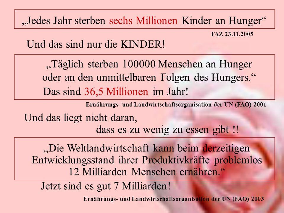 Jedes Jahr sterben sechs Millionen Kinder an Hunger FAZ 23.11.2005 Und das sind nur die KINDER! Täglich sterben 100000 Menschen an Hunger oder an den