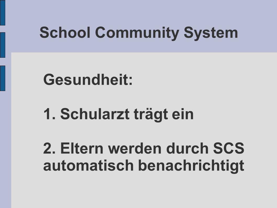 School Community System Gesundheit: 1. Schularzt trägt ein 2. Eltern werden durch SCS automatisch benachrichtigt