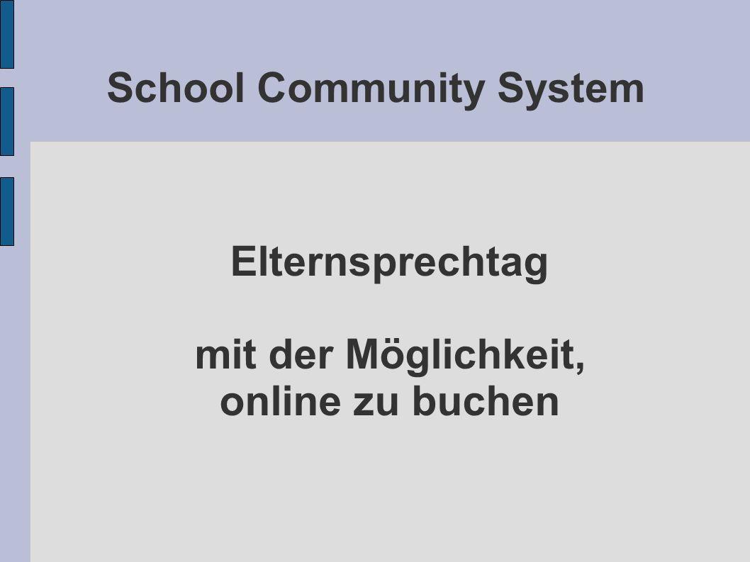 School Community System Elternsprechtag mit der Möglichkeit, online zu buchen