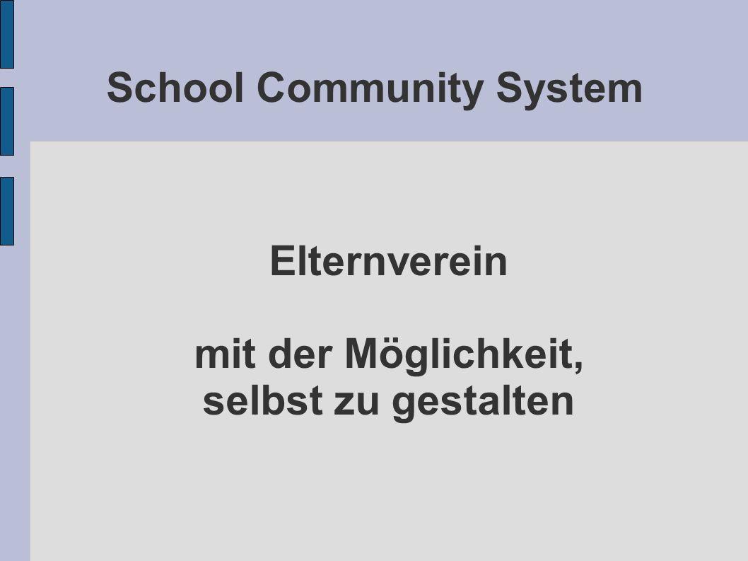 School Community System Elternverein mit der Möglichkeit, selbst zu gestalten