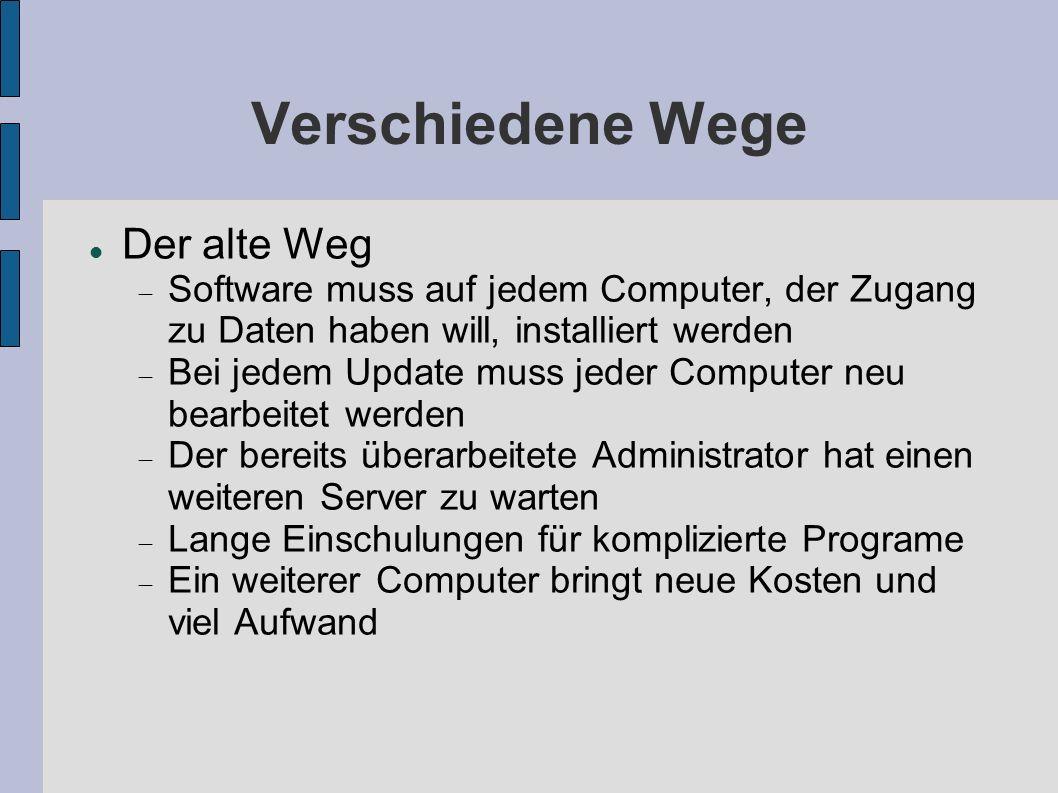 Verschiedene Wege Der alte Weg Software muss auf jedem Computer, der Zugang zu Daten haben will, installiert werden Bei jedem Update muss jeder Comput
