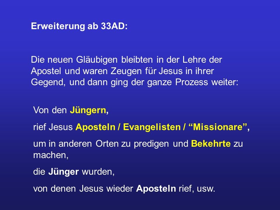 Erweiterung ab 33AD: Die neuen Gläubigen bleibten in der Lehre der Apostel und waren Zeugen für Jesus in ihrer Gegend, und dann ging der ganze Prozess