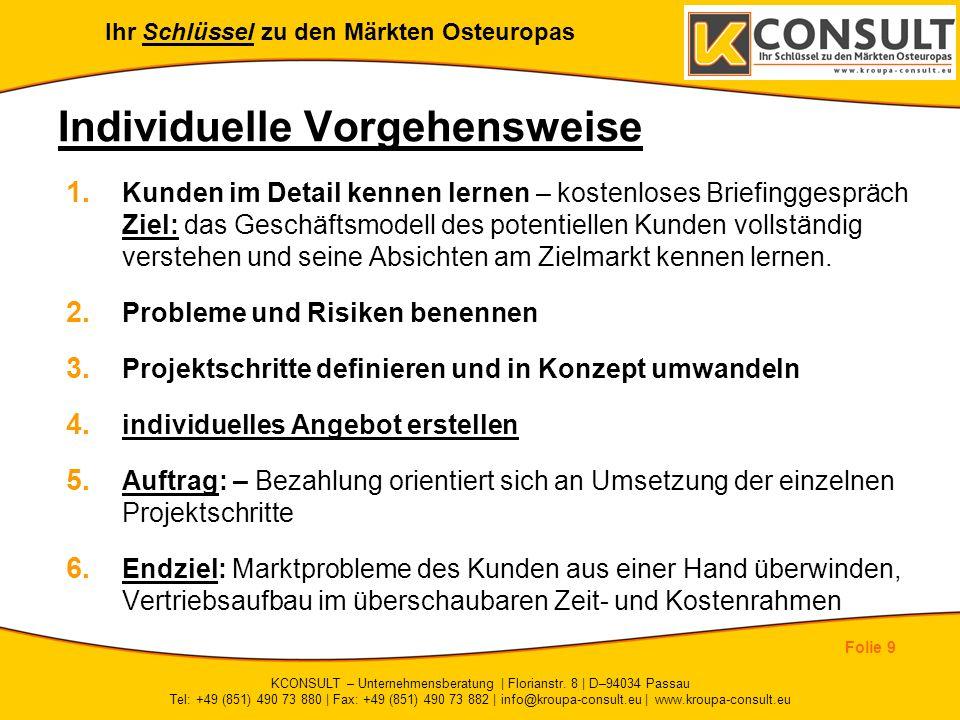 Ihr Schlüssel zu den Märkten Osteuropas Folie 9 KCONSULT – Unternehmensberatung | Florianstr. 8 | D–94034 Passau Tel: +49 (851) 490 73 880 | Fax: +49