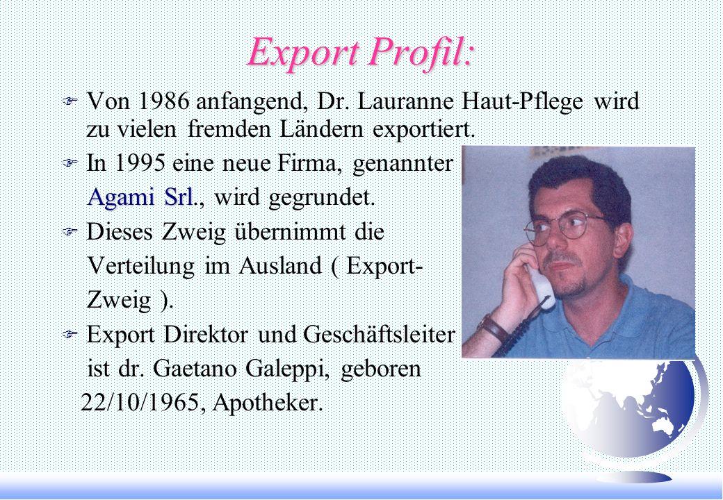 Curriculum: F Firma Gründer und Herstellungsdirektorin ist dr. ANNA LAURA LAMPA, geboren 03/11/1936, Apothekerin, spezialisiert in Schönheitspflege un