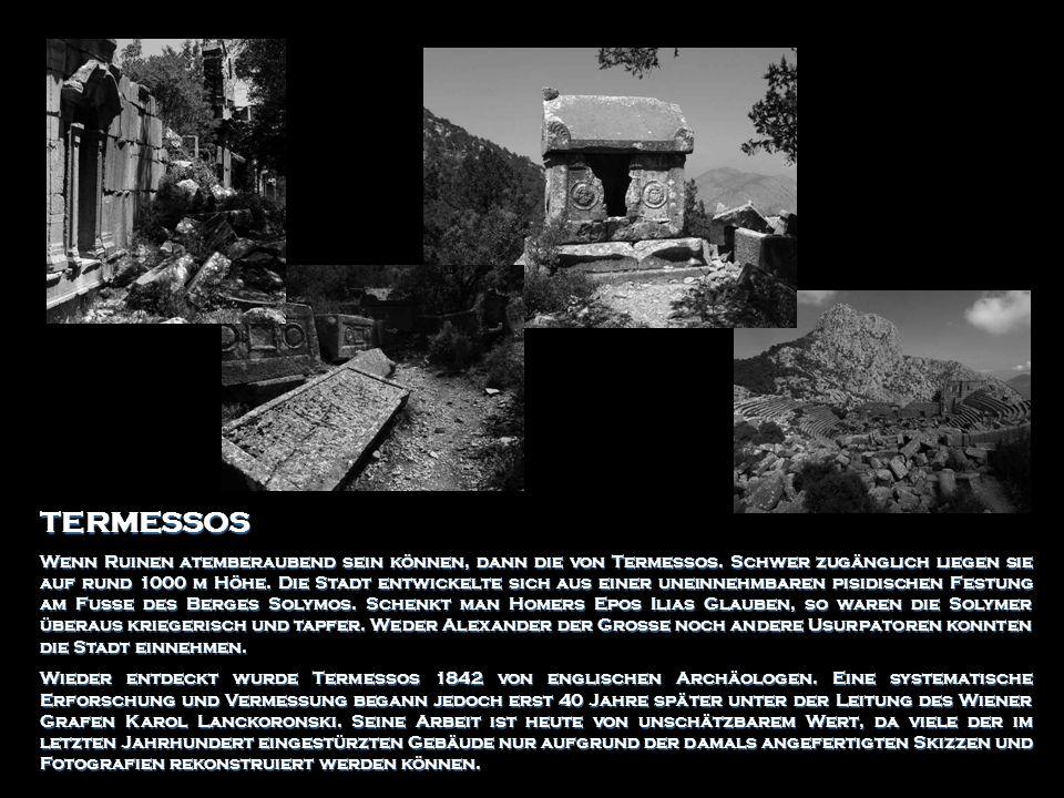TERMESSOS Wenn Ruinen atemberaubend sein können, dann die von Termessos. Schwer zugänglich liegen sie auf rund 1000 m Höhe. Die Stadt entwickelte sich