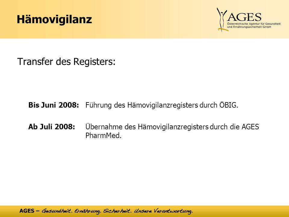 Hämovigilanz Transfer des Registers: Bis Juni 2008: Führung des Hämovigilanzregisters durch ÖBIG.