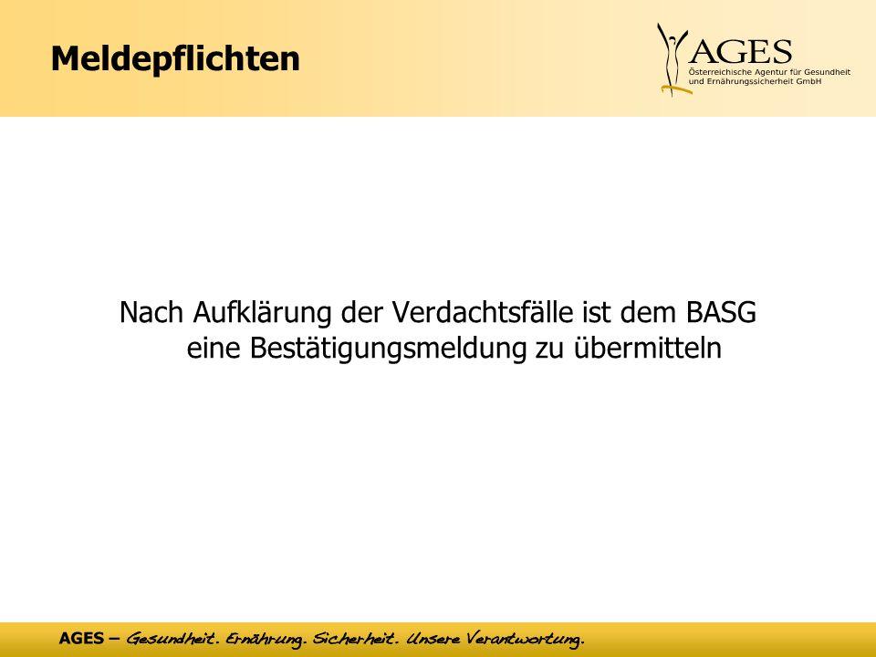 Meldepflichten Nach Aufklärung der Verdachtsfälle ist dem BASG eine Bestätigungsmeldung zu übermitteln