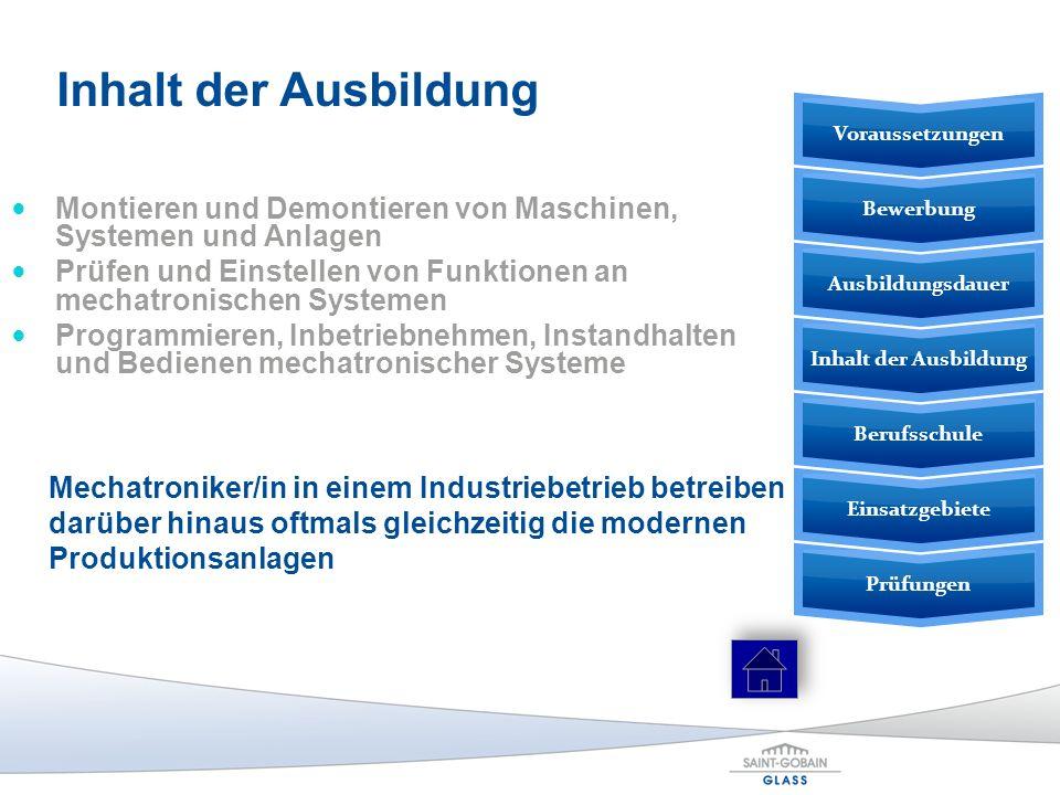 Montieren und Demontieren von Maschinen, Systemen und Anlagen Prüfen und Einstellen von Funktionen an mechatronischen Systemen Programmieren, Inbetrie