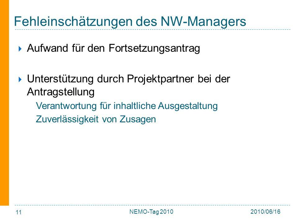 11 Fehleinschätzungen des NW-Managers Aufwand für den Fortsetzungsantrag Unterstützung durch Projektpartner bei der Antragstellung Verantwortung für inhaltliche Ausgestaltung Zuverlässigkeit von Zusagen 2010/06/16NEMO-Tag 2010