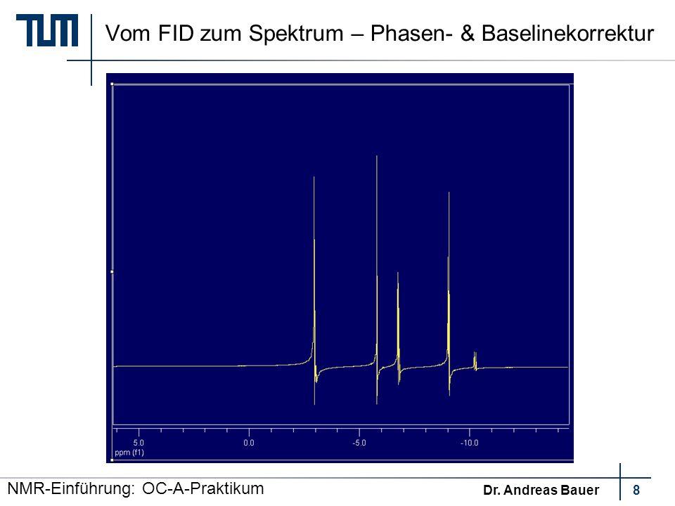 NMR-Einführung: OC-A-Praktikum Dr. Andreas Bauer9 Vom FID zum Spektrum – Kalibrierung TMS Siloxan