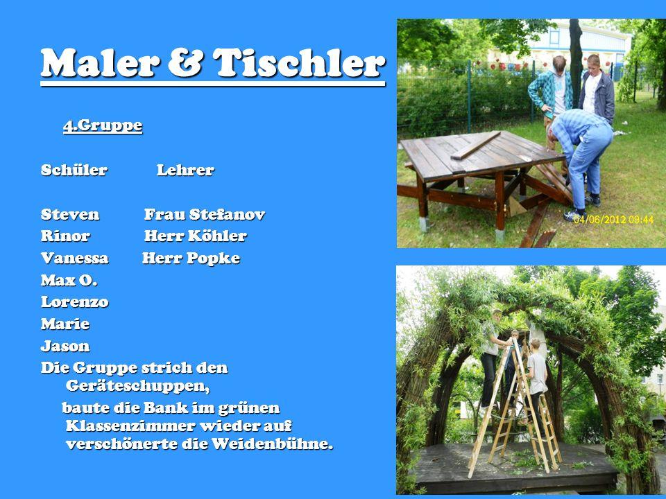 Maler & Tischler 4.Gruppe Schüler Lehrer Steven Frau Stefanov Rinor Herr Köhler Vanessa Herr Popke Max O.