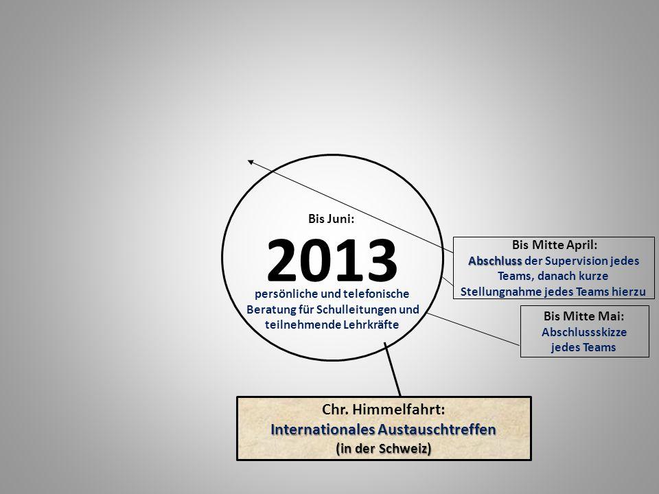 2013 Bis Mitte Mai: Abschlussskizze jedes Teams Abschluss Bis Mitte April: Abschluss der Supervision jedes Teams, danach kurze Stellungnahme jedes Teams hierzu Internationales Austauschtreffen Chr.