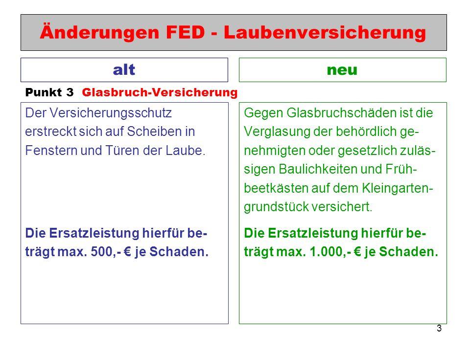 3 Änderungen FED - Laubenversicherung Der Versicherungsschutz erstreckt sich auf Scheiben in Fenstern und Türen der Laube. Die Ersatzleistung hierfür