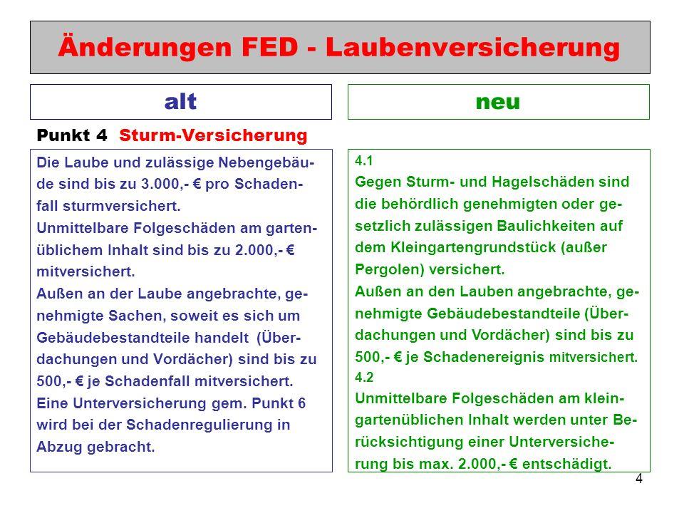 4 Änderungen FED - Laubenversicherung Die Laube und zulässige Nebengebäu- de sind bis zu 3.000,- pro Schaden- fall sturmversichert. Unmittelbare Folge