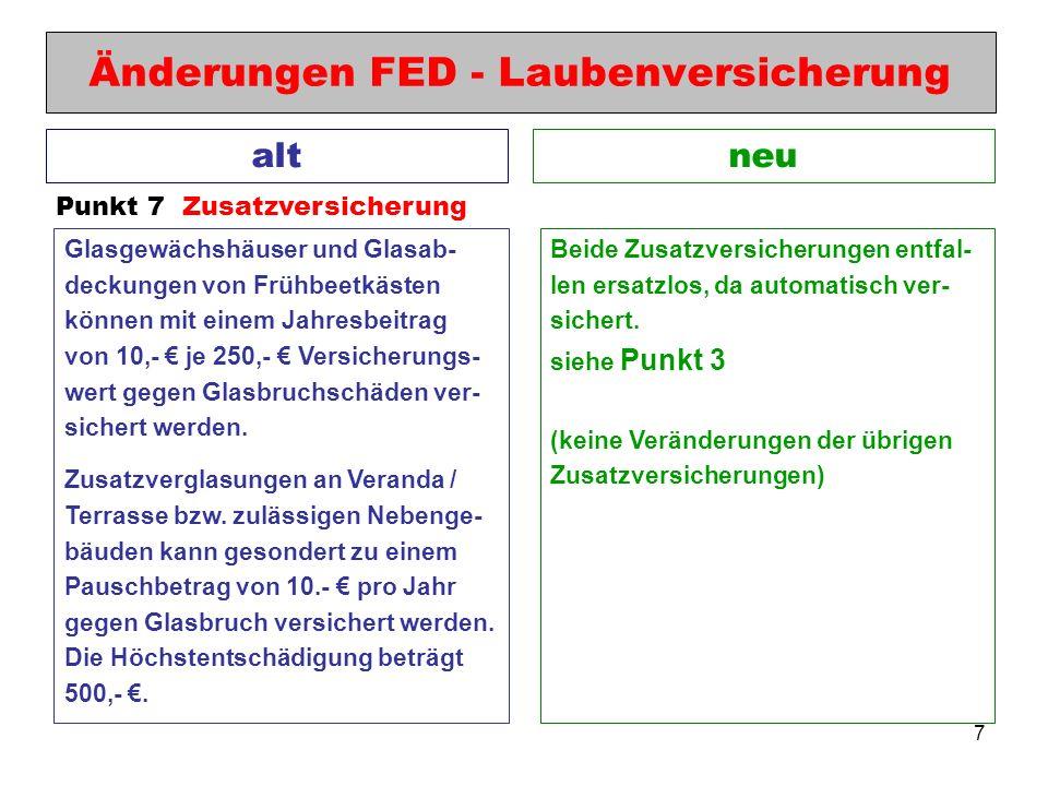 7 Änderungen FED - Laubenversicherung neualt Punkt 7 Zusatzversicherung Beide Zusatzversicherungen entfal- len ersatzlos, da automatisch ver- sichert.