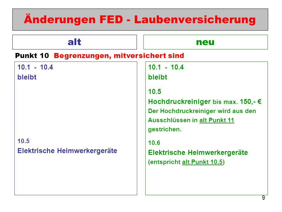 9 Änderungen FED - Laubenversicherung neualt Punkt 10 Begrenzungen, mitversichert sind 10.1 - 10.4 bleibt 10.5 Hochdruckreiniger bis max. 150,- Der Ho