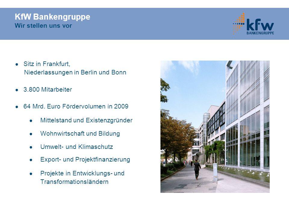 KfW Bankengruppe Wir stellen uns vor Sitz in Frankfurt, Niederlassungen in Berlin und Bonn 3.800 Mitarbeiter 64 Mrd. Euro Fördervolumen in 2009 Mittel