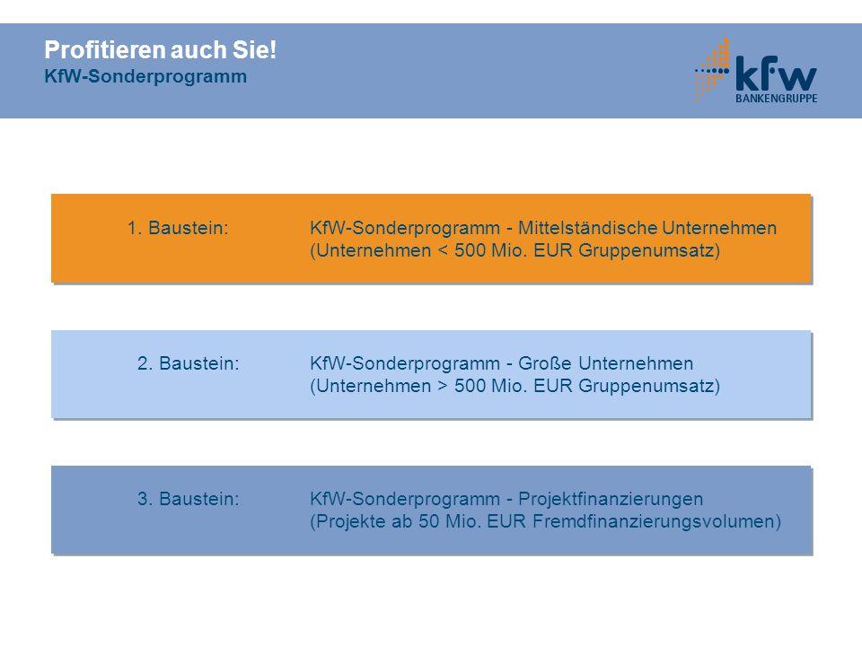 Profitieren auch Sie! KfW-Sonderprogramm 1. Baustein: KfW-Sonderprogramm - Mittelständische Unternehmen (Unternehmen < 500 Mio. EUR Gruppenumsatz) 1.