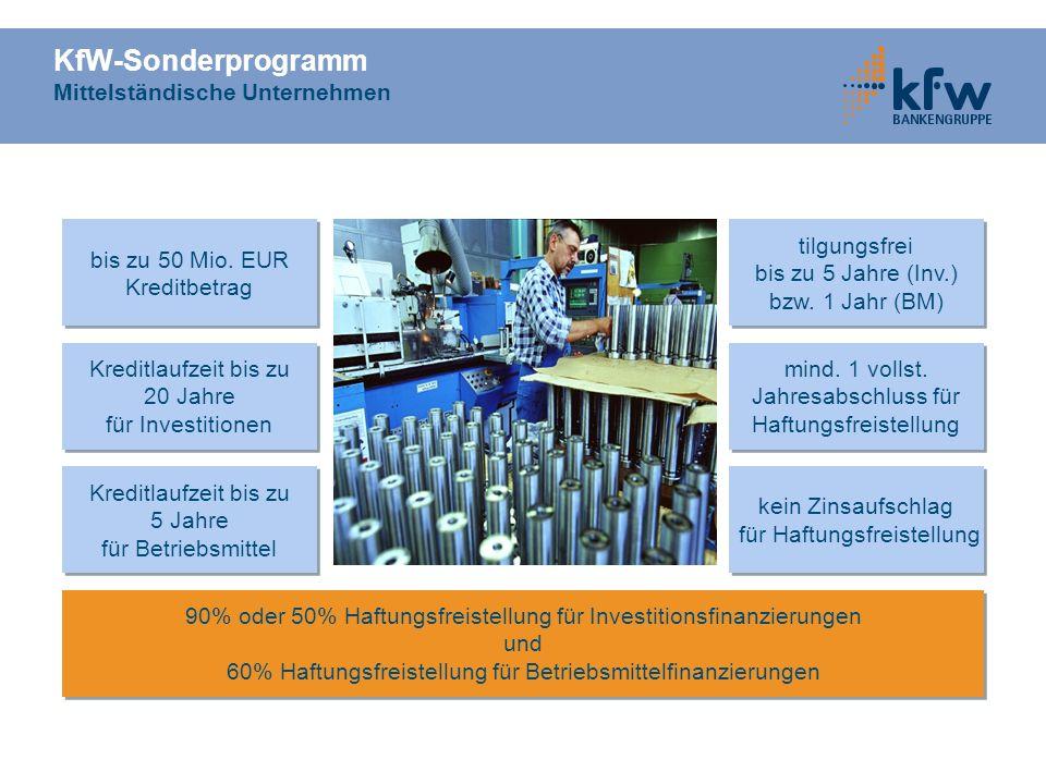 KfW-Sonderprogramm Mittelständische Unternehmen Kreditlaufzeit bis zu 20 Jahre für Investitionen Kreditlaufzeit bis zu 20 Jahre für Investitionen tilg