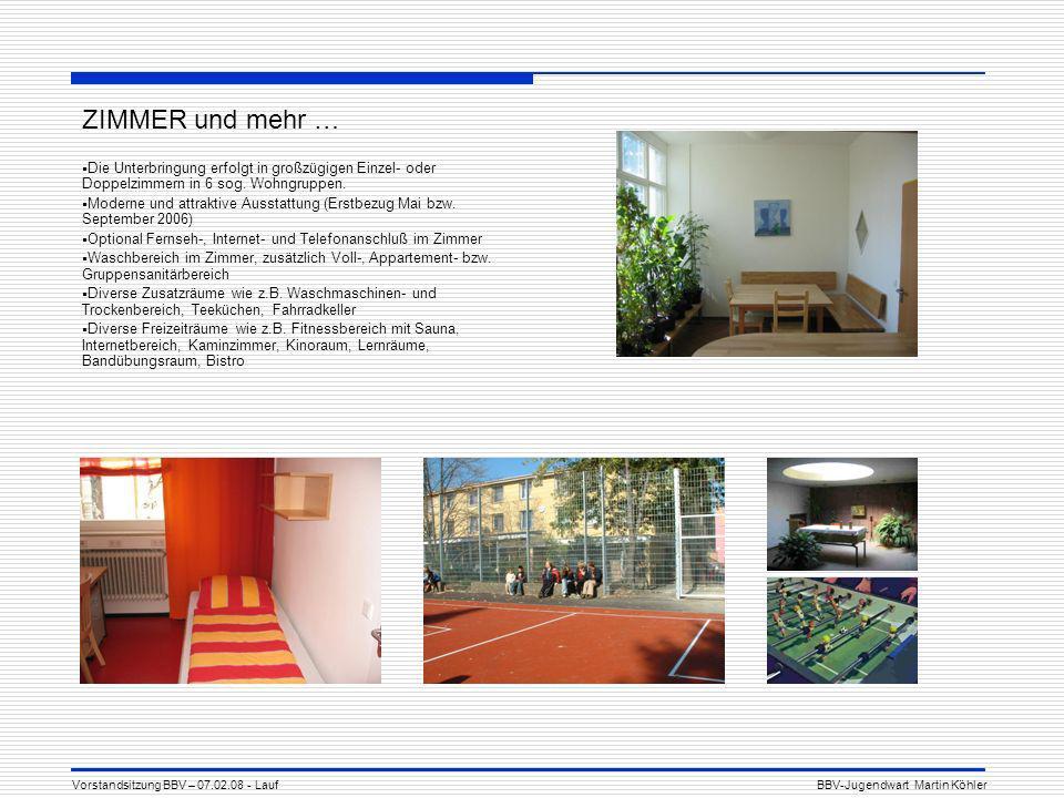 ZIMMER und mehr … Die Unterbringung erfolgt in großzügigen Einzel- oder Doppelzimmern in 6 sog.