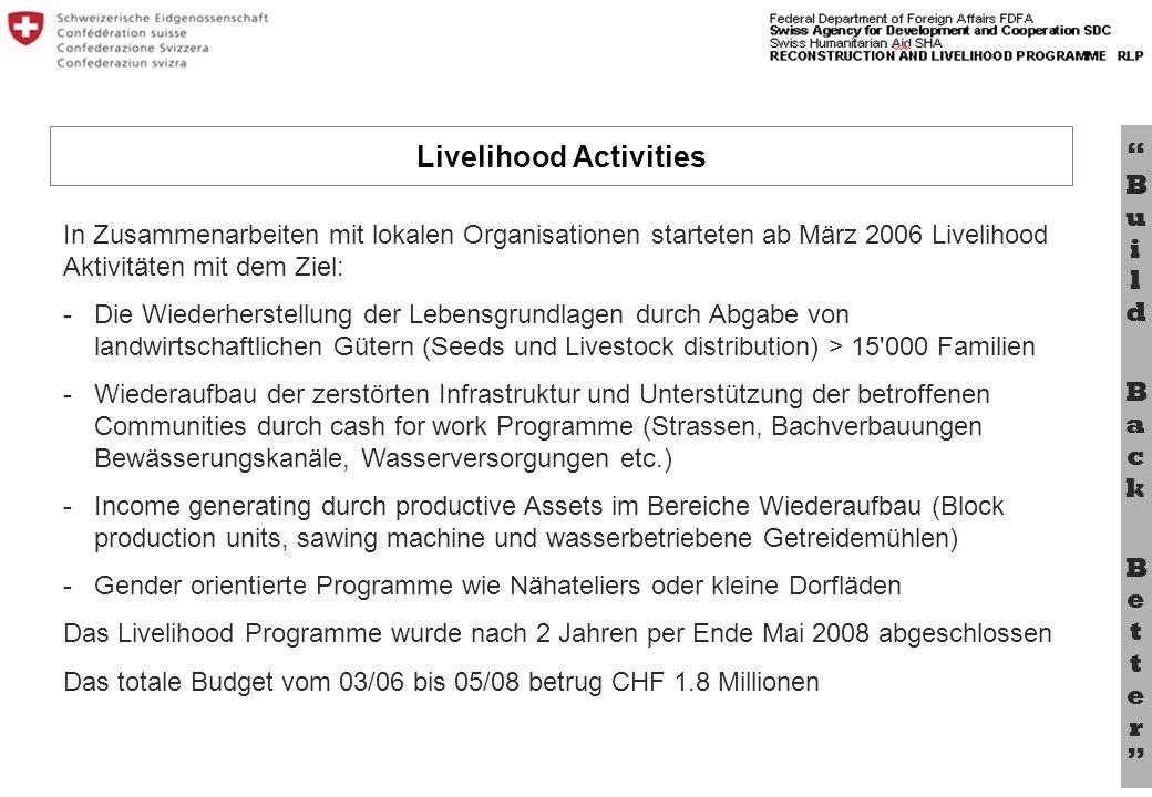 Bu il d B a c k B e tt e r In Zusammenarbeiten mit lokalen Organisationen starteten ab März 2006 Livelihood Aktivitäten mit dem Ziel: - Die Wiederhers