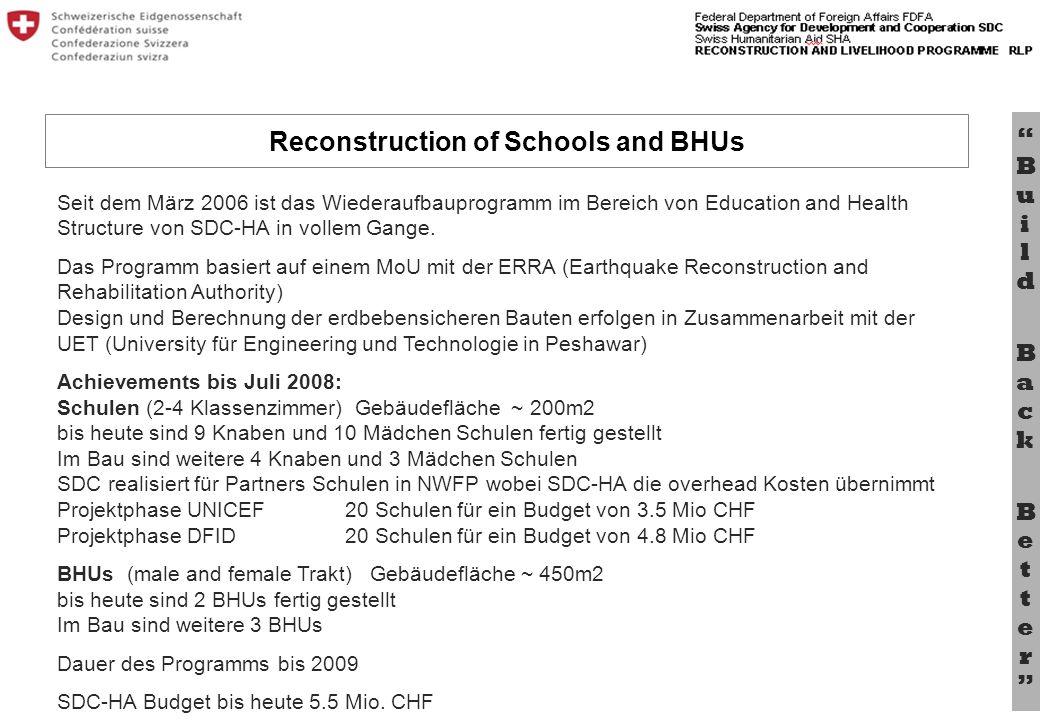 Bu il d B a c k B e tt e r Seit dem März 2006 ist das Wiederaufbauprogramm im Bereich von Education and Health Structure von SDC-HA in vollem Gange. D