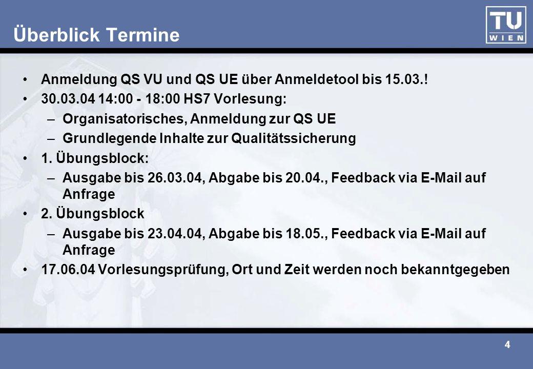 4 Überblick Termine Anmeldung QS VU und QS UE über Anmeldetool bis 15.03.! 30.03.04 14:00 - 18:00 HS7 Vorlesung: –Organisatorisches, Anmeldung zur QS