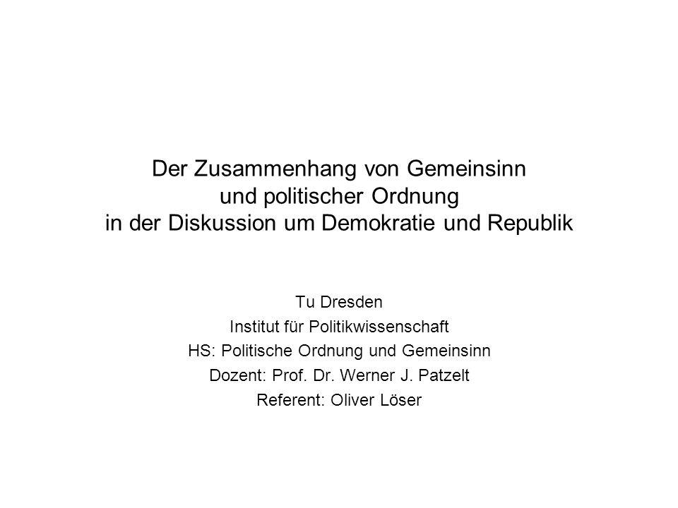 Der Zusammenhang von Gemeinsinn und politischer Ordnung in der Diskussion um Demokratie und Republik Tu Dresden Institut für Politikwissenschaft HS: P