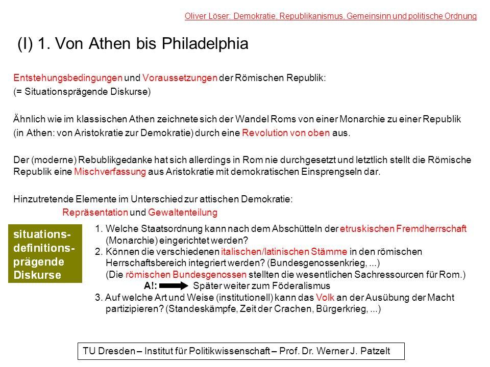 (I) 1. Von Athen bis Philadelphia Entstehungsbedingungen und Voraussetzungen der Römischen Republik: (= Situationsprägende Diskurse) Ähnlich wie im kl