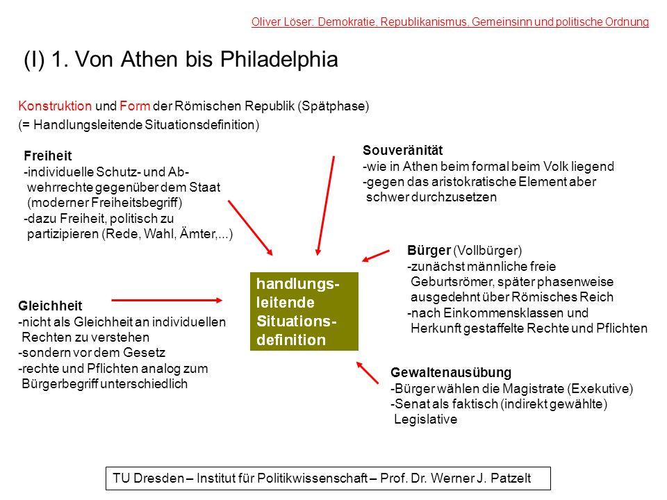(I) 1. Von Athen bis Philadelphia Konstruktion und Form der Römischen Republik (Spätphase) (= Handlungsleitende Situationsdefinition) Oliver Löser: De