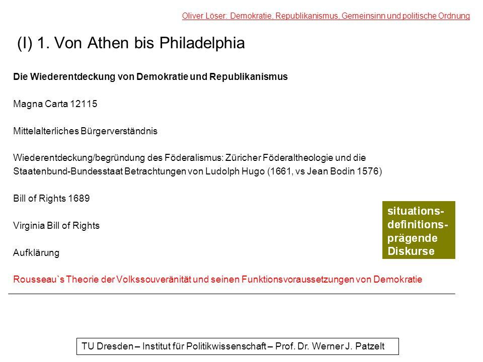 (I) 1. Von Athen bis Philadelphia Die Wiederentdeckung von Demokratie und Republikanismus Magna Carta 12115 Mittelalterliches Bürgerverständnis Wieder