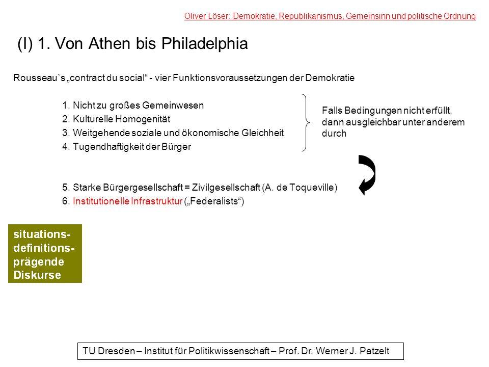 (I) 1. Von Athen bis Philadelphia Rousseau`s contract du social - vier Funktionsvoraussetzungen der Demokratie 1. Nicht zu großes Gemeinwesen 2. Kultu