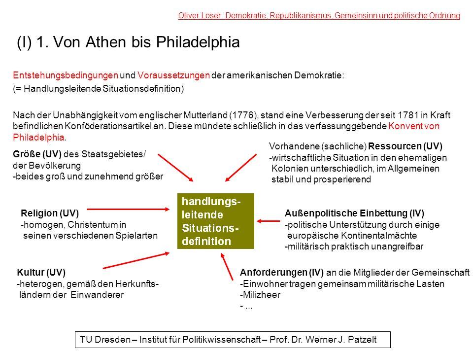 (I) 1. Von Athen bis Philadelphia Entstehungsbedingungen und Voraussetzungen der amerikanischen Demokratie: (= Handlungsleitende Situationsdefinition)