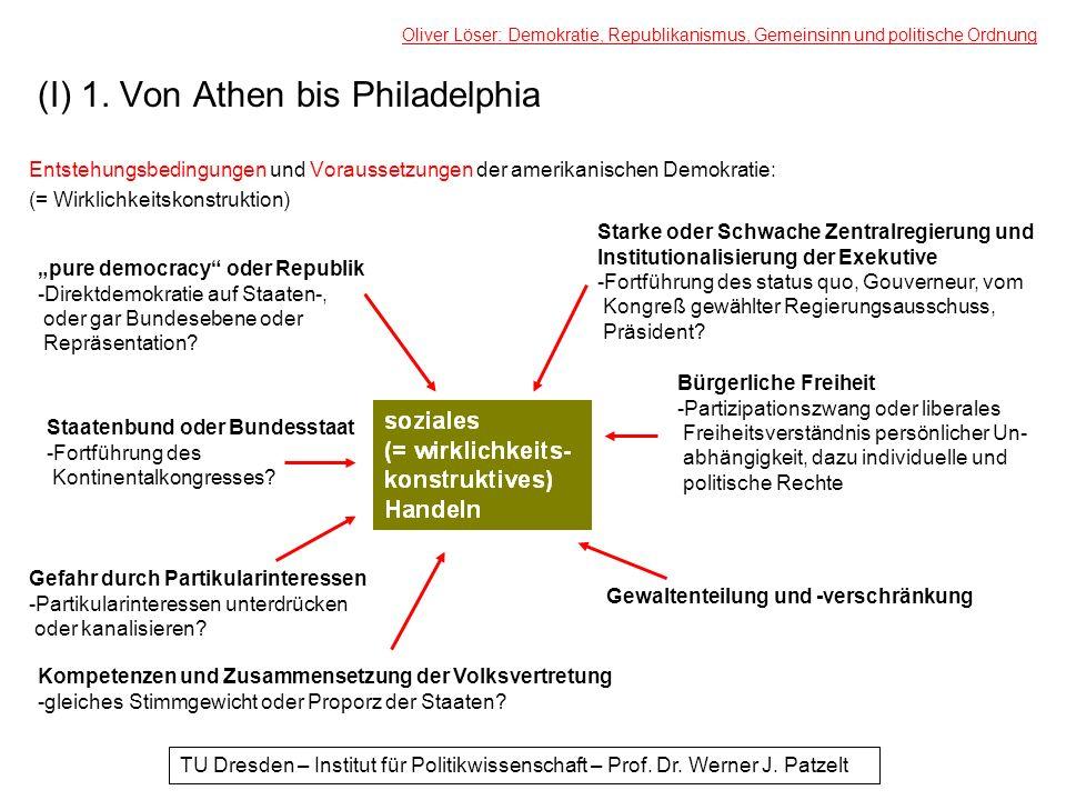 (I) 1. Von Athen bis Philadelphia Entstehungsbedingungen und Voraussetzungen der amerikanischen Demokratie: (= Wirklichkeitskonstruktion) Oliver Löser