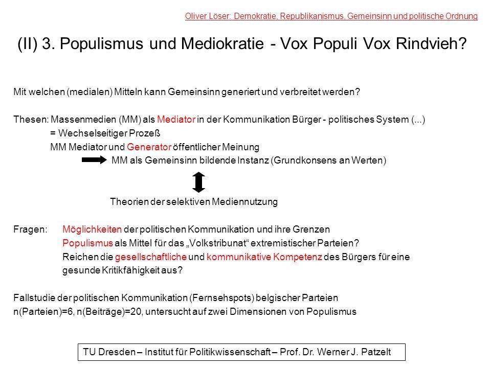 (II) 3. Populismus und Mediokratie - Vox Populi Vox Rindvieh? Mit welchen (medialen) Mitteln kann Gemeinsinn generiert und verbreitet werden? Thesen: