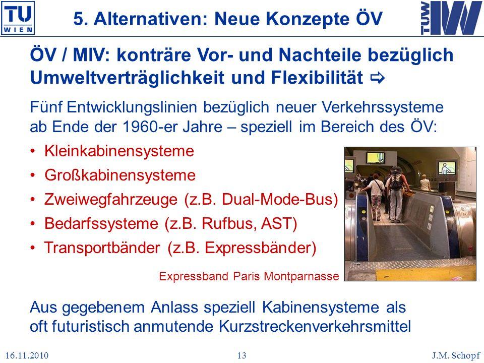 16.11.2010J.M. Schopf13 Fünf Entwicklungslinien bezüglich neuer Verkehrssysteme ab Ende der 1960-er Jahre – speziell im Bereich des ÖV: Kleinkabinensy
