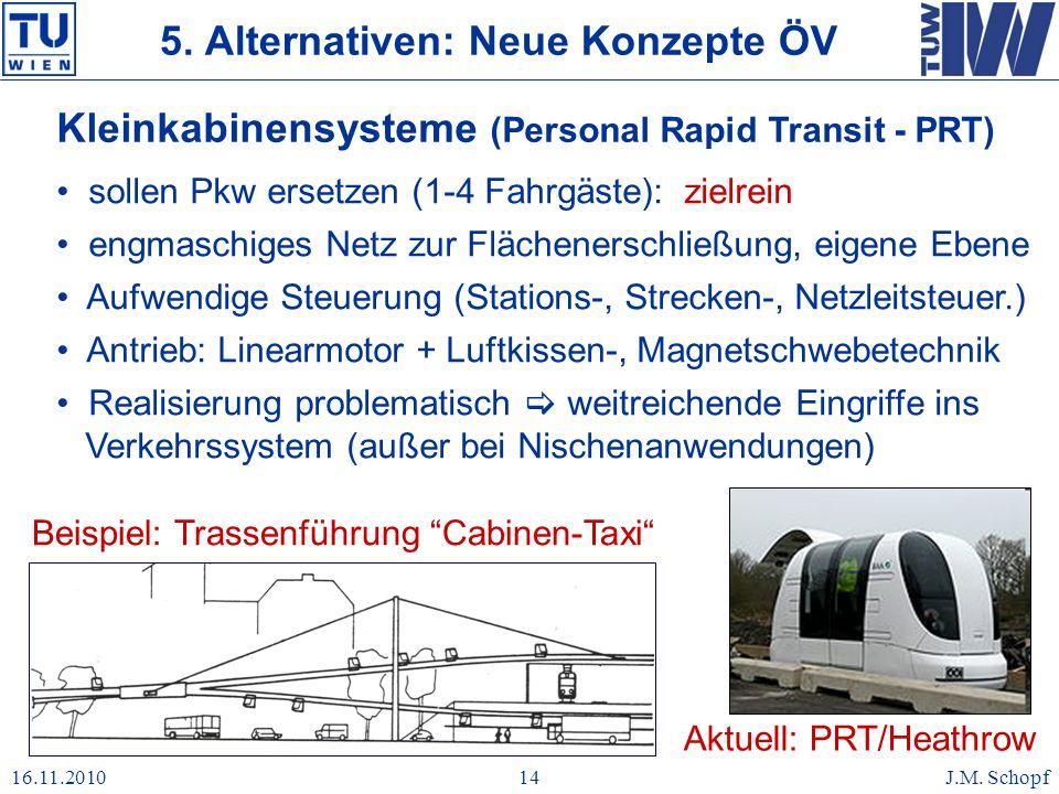 16.11.2010J.M. Schopf14 Kleinkabinensysteme (Personal Rapid Transit - PRT) sollen Pkw ersetzen (1-4 Fahrgäste): zielrein engmaschiges Netz zur Flächen